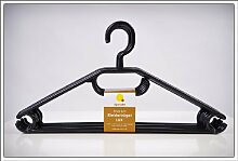Kleiderbügel 100er Pack in schwarz - extra schwere Qualität (45g pro Bügel) - mit Anti-Rutsch-Rillen und Krawatten- bzw. Gürtelhalter