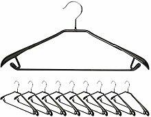 Kleiderbügel Antirutsch Bezug - Schwarz 10er Set - Metall Kleiderhalter Breite Schulterauflagen für Anzüge Blusen