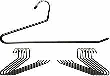 Kleiderbügel Antirutsch Bezug - Schwarz 12er Set Verchromtes Metall - Hosenbügel für Hosen Handtücher Schals Röcke