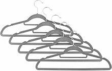 Kleiderbügel Anzugbügel 100 Stück 360° drehbarer Haken mit rutschfeste Oberfläche dünn, Samt, Grau