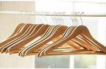 Kleiderbügel, aus Holz, mit Hosenstange und Anti-Rutsch-Rillen, 100Stück