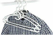 Kleiderbügel aus Kunststoff - 40 Stück Farbe: Weiß mit Antirutscheinlagen