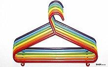 Kleiderbügel aus Kunststoff für Kinder bunt blau gelb rot grün lila neu 6 Stück