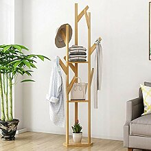 Kleiderbügel Bambus mit Regalen