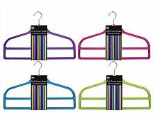 Kleiderbügel beflockt, für Hosen, Röcke, Schals und andere Kleidungsstücke, schmales Design, 4 Stück Viole