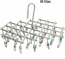 Kleiderbügel Edelstahl Zusammenklappbaren wäscheständer mit 35 Klammer Wäscheklammern Clothes Hanger für Kleidung Socken Unterwäsche Wäschespinnen by Hmlike