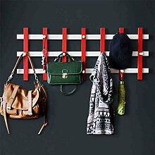 Kleiderbügel-Haken-Wand-kreativer Garten-Mantel-Zahnstange-hölzerner Wand-Tür-Aufhänger ( Farbe : Rot , größe : L )