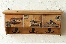 Kleiderbügel Herkunftsland Massivholz Schrank Wandschrank Wandschrank Schrank Dekoration Wohnzimmer Regal Haken ( farbe : Braun )