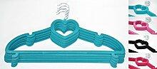 Kleiderbügel Herz Anti-Rutsch Samt beschichtet 45cm Kleiderhaken Bügel, Farbe:Türkis, Stückzahl:5 Stück