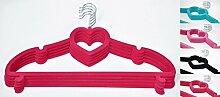 Kleiderbügel Herz Anti-Rutsch Samt beschichtet 45cm Kleiderhaken Bügel, Farbe:Rot, Stückzahl:30 Stück