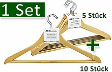 Kleiderbügel Holz - Set mit zwei Bügelarten - 3 Sets