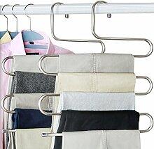 Kleiderbügel Hosenbügel Mehrfach Magic Edelstahl S-Type Platzsparend Storage für hängende Tücher Schal Jeans Hose (2PCS)