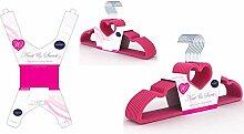 Kleiderbügel in Herzform, Samt, 10 Stück, Pink