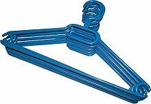 Kleiderbügel Kunststoff Schwarz mit Antirutschrillen Made in Germany (10er Pack, blau)