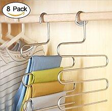 Kleiderbügel Mehrfach-Hosenbügel Edelstahl 8er