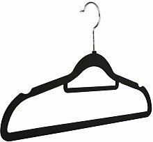 Kleiderbügel mit Hosenstange, rutschfest, mit Samt beflockt - 20 - schwarz