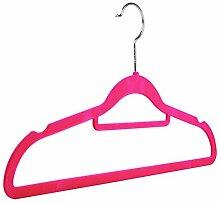 Kleiderbügel mit Hosenstange, rutschfest, mit Samt beflockt - 60 - Pink