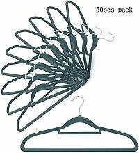 Kleiderbügel mit Zubehör Bar stabilem und robustem, 360Grad Chrome Swivel Haken, Ultra dünn platzsparende Kleiderbügel für Fell Anzug Rock Kleid Hemd Hose 50PCS PACK grau