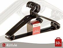 KLEIDERBÜGEL Nero 50-er Set von 4smile   Kleider-Bügel schwarz Kunststoff stabil ǀ Wäsche-Bügel leicht und platzsparend ǀ Multifunktionsbügel Anzugbügel mit drehbarem Haken