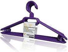 Kleiderbügel, rutschfeste und platzsparende Anzugbügel aus Kunststoff VERPACKING - Violett, 20 Stück