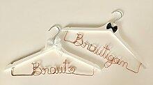 Kleiderbügel-Set aus Draht Braut & Bräutigam