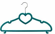 Kleiderbügel Velours beflockt - 20 Stück - mit Herzform - Farbe: Türkis