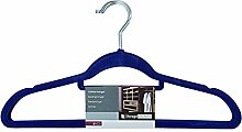 Kleiderbügel Velours beflockt - mit Hosensteg - Farbe blau 10 Stück