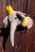 Kleiderhaken Filz Elefant auf Holzscheibe 20 x 18