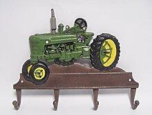 Kleiderhaken Haken Garderobe Gußeisen Landhaus Nostalgie Motiv: Trecker Traktor grün/braun 35,5x27,5cm 4Haken