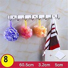 Kleiderhaken Rack Wand Kleiderbügel Edelstahl Haken, Locher oder nicht perforierte Installation , B , 8 hook