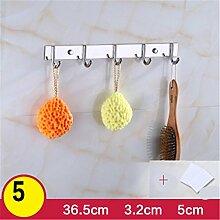 Kleiderhaken Rack Wand Kleiderbügel Edelstahl Haken, Locher oder nicht perforierte Installation , B , 5 hook