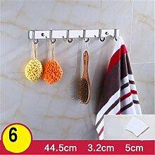 Kleiderhaken Rack Wand Kleiderbügel Edelstahl Haken, Locher oder nicht perforierte Installation , B , 6 hook