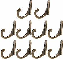 Kleiderhaken Türwand 10PCS Weinlese-Bronze Doppel