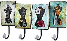 Kleiderleiste Kleiderhaken Garderobenhaken Garderobenleiste Hakenleiste Garderobe aus Metall mit 4 Häken und Blilddekor