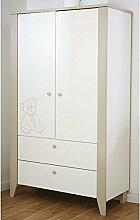 Kleiderschrank 2 Türen B 115 cm weiß grau Schrank Drehtürenschrank Kinderzimmer Babyzimmer Schrank Wäscheschrank Kinderzimmerschrank