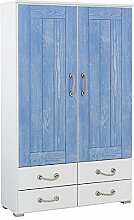 Kleiderschrank 2 Türen B 92 cm blau weiß Schrank Drehtürenschrank Wäscheschrank Holzschrank Kinderzimmer Jugendzimmer