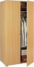 Kleiderschrank 2 Türen buche beige Schrank Drehtürenschrank Wäscheschrank Holzschrank Kinderzimmer Jugendzimmer Schlafzimmer