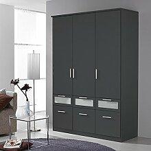 Kleiderschrank 3 Türen B 136 cm grau metallic Schrank Drehtürenschrank Wäscheschrank Kinderzimmer Jugendzimmer Schlafzimmer