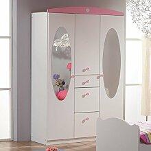 Kleiderschrank 3 Türen B 136 cm weiß/rosa