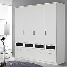 Kleiderschrank 4 Türen B 181 cm weiß Schrank Drehtürenschrank Wäscheschrank Kinderzimmer Jugendzimmer Schlafzimmer