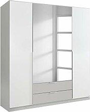 Kleiderschrank 4 Türen weiß/grau B 181 cm H 197