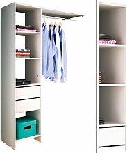 KLEIDERSCHRANK 5578 offen BEGEHBAR Regal Kleiderständer Schrank weiß 40/160x187x40cm