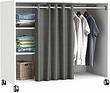 Kleiderschrank auf Rollen #5318 weiß Schrank Vorhang begehbar Kommode Garderobe