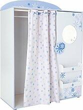 Kleiderschrank B 124 weiß/blau mit Vorhang