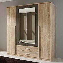 Kleiderschrank Eiche Sonoma grau 4 Türen B 181 cm