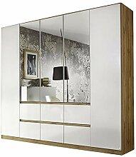 Kleiderschrank Ella 5 Türen weiß/braun B 226 cm