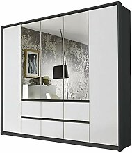 Kleiderschrank Ella 5 Türen weiß/grau B 230 cm