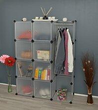 Kleiderschrank Garderoben Flur Dielen Schrank Badschrank Kinderschrank mit 8 transparenten weißen Türen und 1 Kleiderstange
