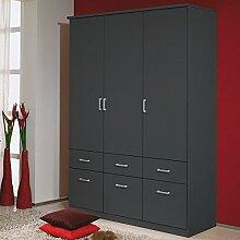Kleiderschrank grau metallic 3 Türen B 136 cm Schrank Drehtürenschrank Wäscheschrank Kinderzimmer Jugendzimmer Kinderzimmerschrank