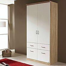 Kleiderschrank grau / weiß 2 Türen B 91 cm eiche